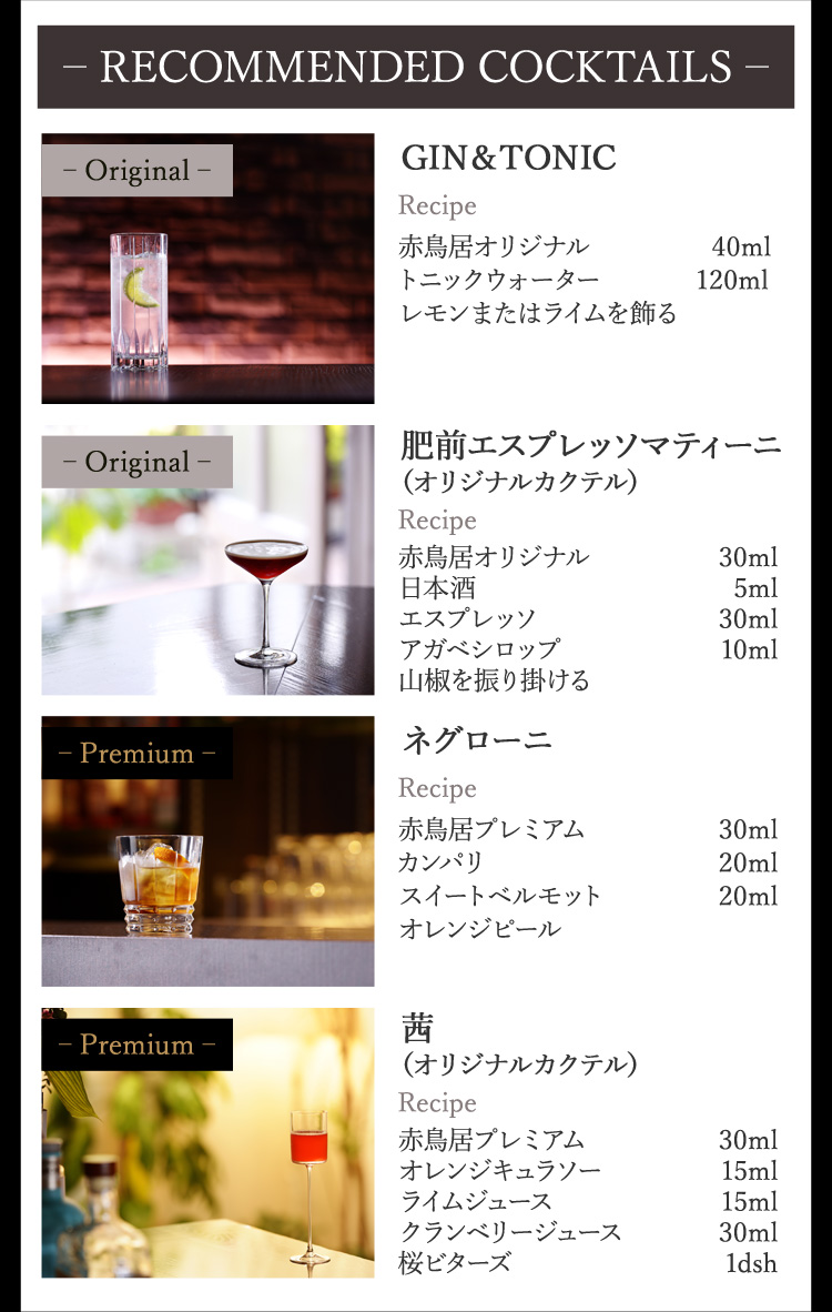 RECOMMENDED COCKTAILS